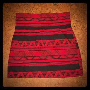 American apparel, black and red Aztec skirt